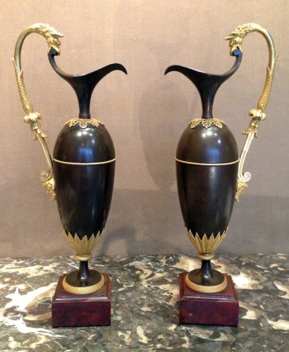 An Empire pair of aiguieres attributed to Ravrio -