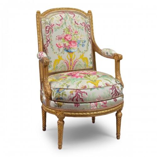 A rare Louis XVI armchair attributed to J-B Sené