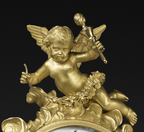 A Louis XVI ormolu, patinated bronze and rouge griotte marble mantel clock - Clocks Style Louis XVI