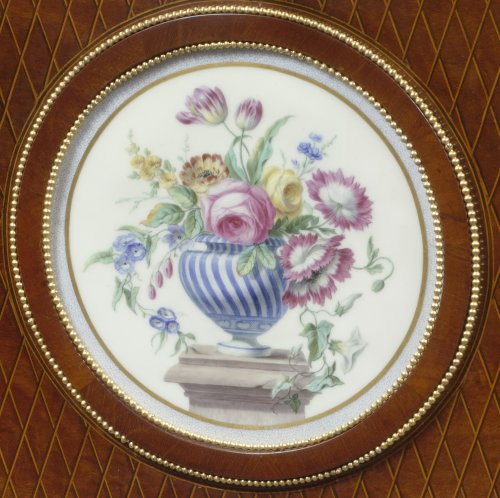 A Fine French ormolu and porcelain-mounted mahogany secrétaire à abattant -