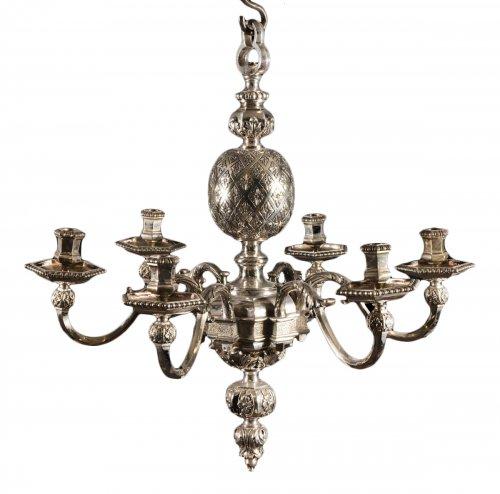 A Louis XIV style six-light chandelier