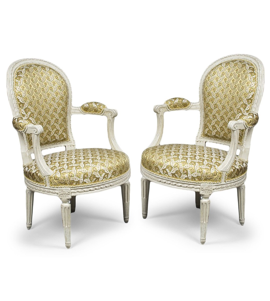 a pair of louis xvi white painted fauteuils en cabriolet. Black Bedroom Furniture Sets. Home Design Ideas