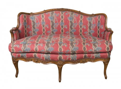 "A Louis XV beechwood settee stamped ""FRC Reuze"" and ""JME"""