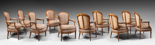 A set of ten Transition dining room armchairs stamped Boulard - Seating Style Transition