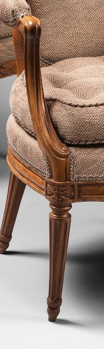 18th century - A set of ten Transition dining room armchairs stamped Boulard