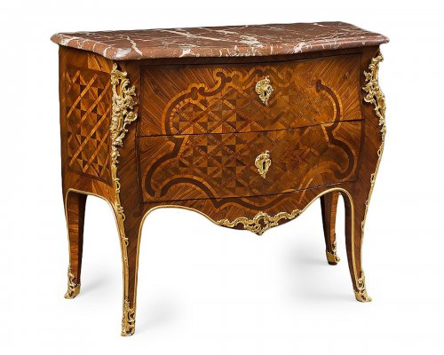 A Louis XV ormolu-mounted marquetry  commode stamped Albert Levesque