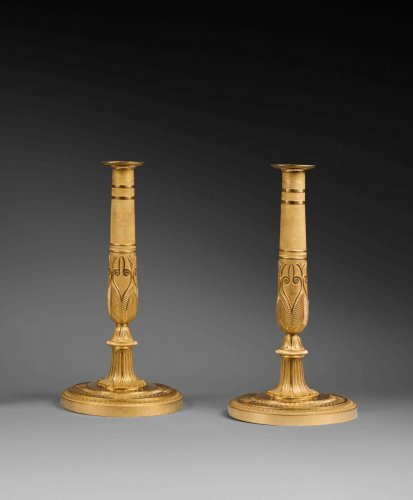 19th century - A pair of ormolu Empire Candlesticks