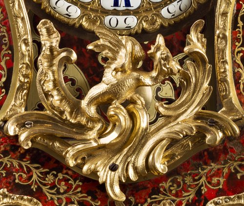 18th century - A Louis XV ormolu-mounted tortoise-shell cartel clock and bracket