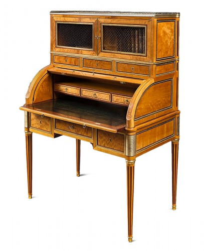 A rare Louis XVI ormolu-mounted lime wood and amaranth bureau cylindre
