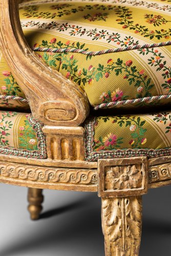 A rare pair of Louis XVI gilt wood armchairs - Seating Style Louis XVI