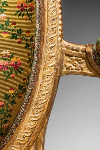 Seating  - A rare pair of Louis XVI gilt wood armchairs