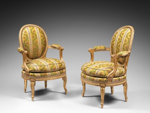 A rare pair of Louis XVI gilt wood armchairs - Louis XVI