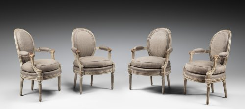 A set of four Louis XVI armchairs stamped by Georges Jacob - Seating Style Louis XVI