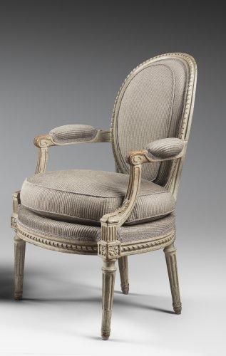 Seating  - A set of four Louis XVI armchairs stamped by Georges Jacob