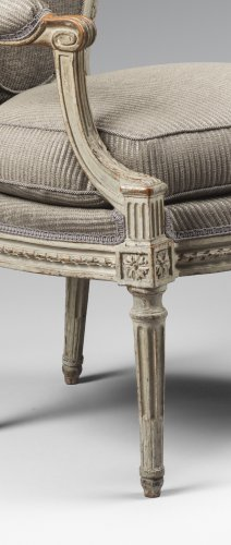 A set of four Louis XVI armchairs stamped by Georges Jacob -