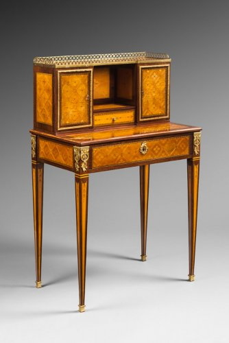 A Louis XVI oromolu-mounted,marquetry bonheur du jour stamped Dubut