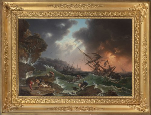 A shipwrecked three-master in stormy seas - Late 18th Century