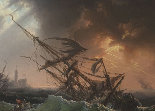 A shipwrecked three-master in stormy seas - Late 18th Century - Paintings & Drawings Style
