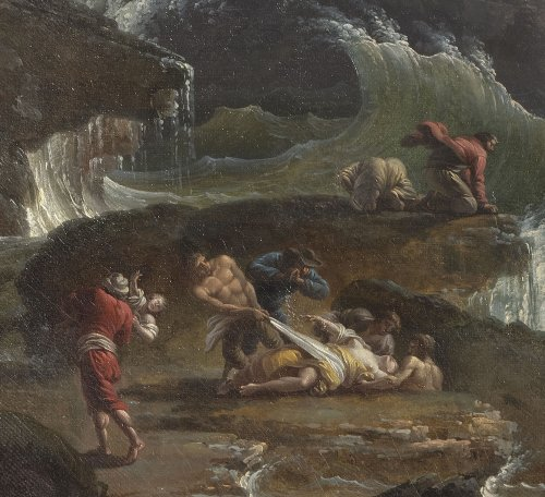 A shipwrecked three-master in stormy seas - Late 18th Century -