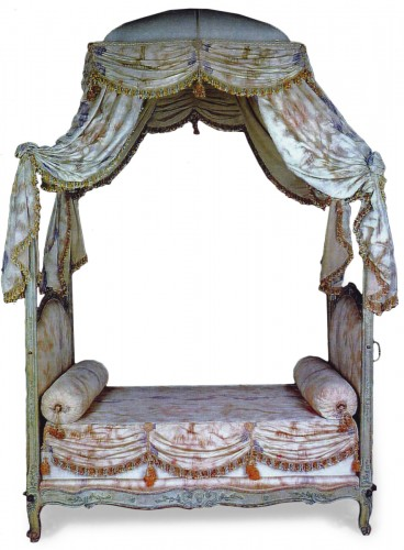A Louis XV grey-painted Lit a la Polonaise, stamped Tilliard