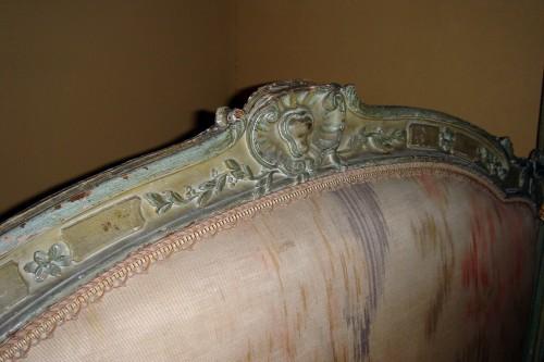 Furniture  - A Louis XV grey-painted Lit a la Polonaise, stamped Tilliard