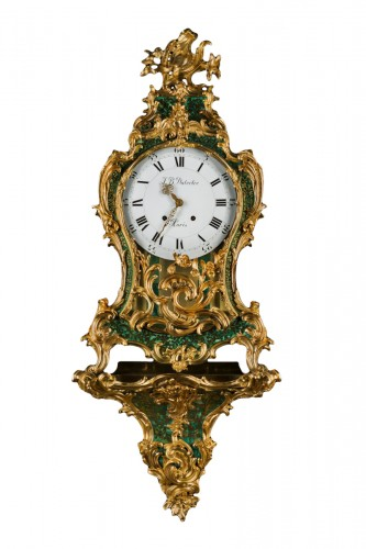 A Louis XV ormolu-mounted green stained horn bracket clock