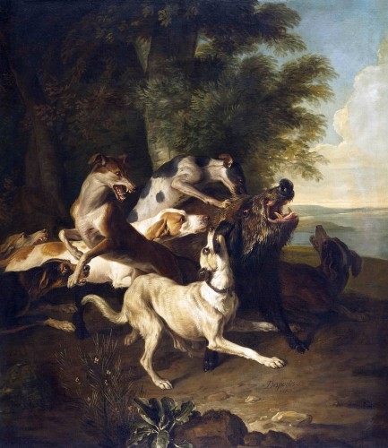 Alexandre-François Desportes (1661 –1743() - Hallali of wild boar