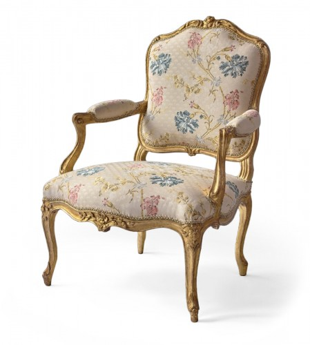 A set of six Louis XV gilt wood armchairs stamped Desestre