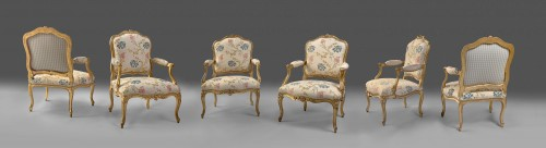 A set of six Louis XV gilt wood armchairs stamped Desestre - Seating Style Louis XV