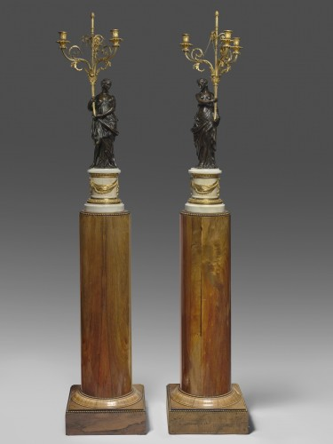 A pair of Louis XVI ormolu and patinated bronze three-lights candelabras - Lighting Style Louis XVI