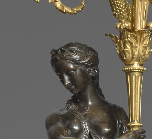 Lighting  - A pair of Louis XVI ormolu and patinated bronze three-lights candelabras