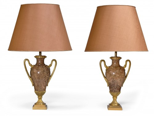 A pair of neoclassical style marble ormolumounted vases mounted as lamps