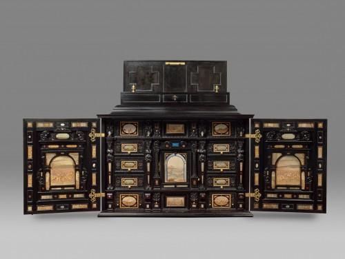 A rare 17th Century  south German (Augsburg) ebony table - cabinet -
