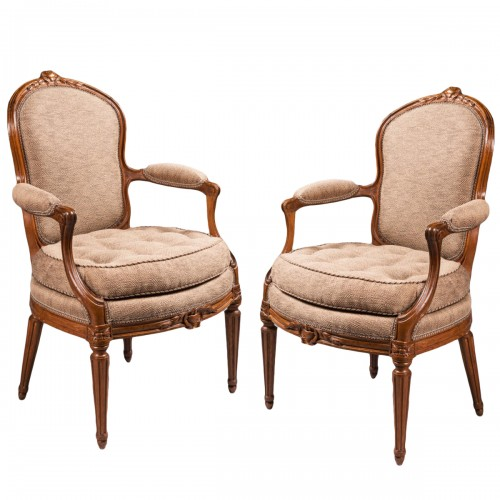 A rare set of ten dining room armchairs stamped J-B Boulard