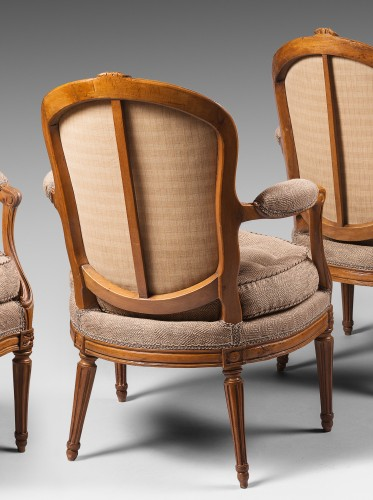 Seating  - A rare set of ten dining room armchairs stamped J-B Boulard