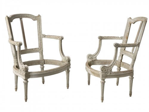A pair of Louis XVI grey-painted fauteuils  frames, stamped Boulard