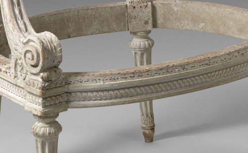 A pair of Louis XVI grey-painted fauteuils  frames, stamped Boulard - Seating Style Louis XVI