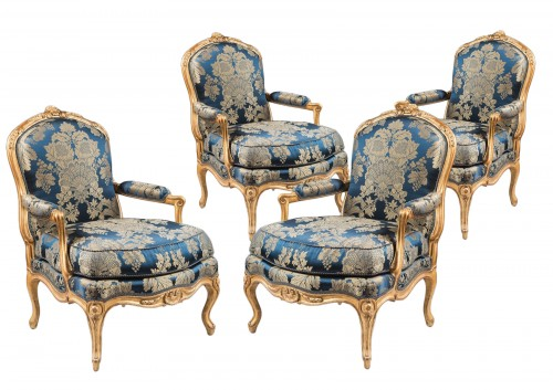 A set of four Louis XV armchairs stamped by J-B Gourdin