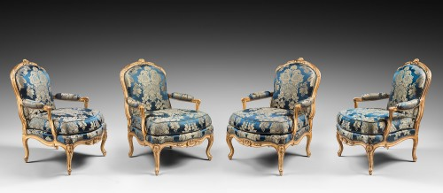 A set of four Louis XV armchairs stamped by J-B Gourdin - Seating Style Louis XV