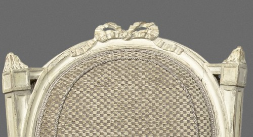 An elegant pair of Louis XVI grey-painted chairs -