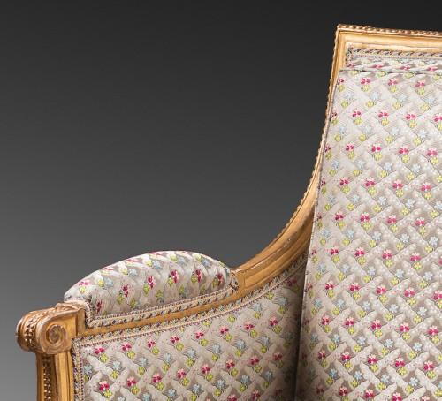 A pair of Louis XVI giltwood bergeres Attributed to Jean-Baptiste Boulard - Seating Style Louis XVI