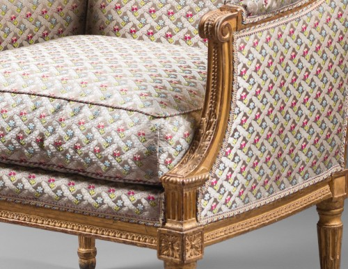 A pair of Louis XVI giltwood bergeres Attributed to Jean-Baptiste Boulard -