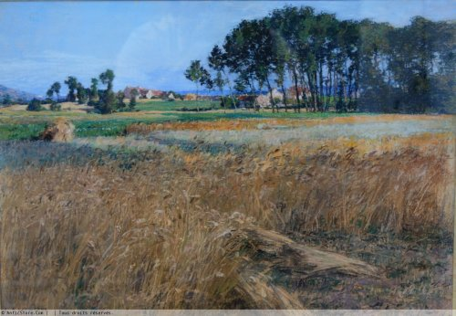 Léon Augustin Lhermitte (1844-1925) -  wheat field next Mézy - Paintings & Drawings Style