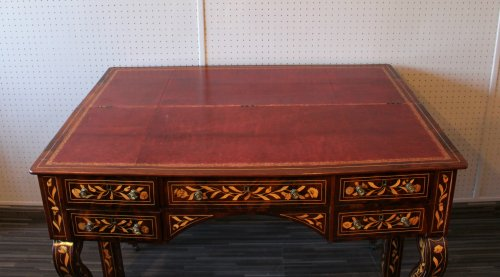 A Dutch desk with floral and bird marquetry -