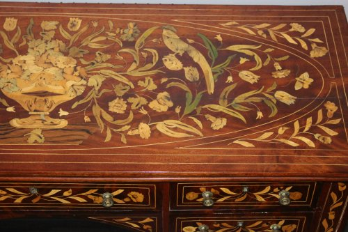 - A Dutch desk with floral and bird marquetry