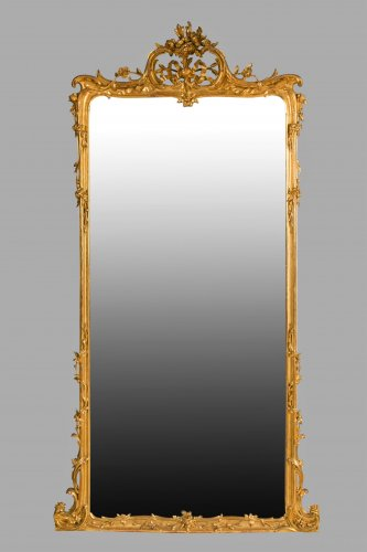 Pair of large wooden-framed mirrors dating from the second half of the 19th century - Mirrors, Trumeau Style Napoléon III