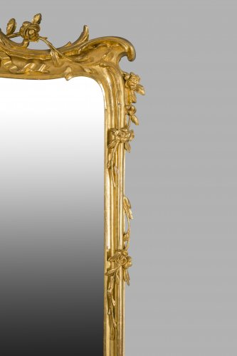 Antiquités - Pair of large wooden-framed mirrors dating from the second half of the 19th century