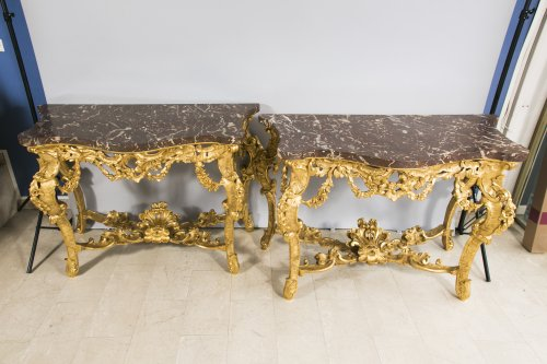Antiquités - Large pair of Italian consoles, late 19th century