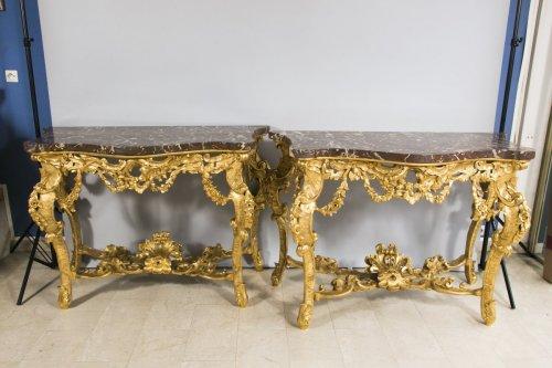 Antiquités - Large pair of Italian consoles, late 19th century