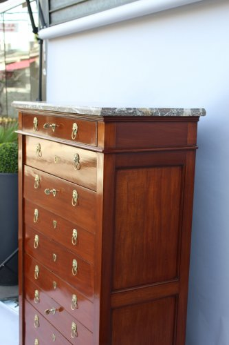 Mahogany chiffonnier by Canabas, dating back to the Louis XVI  - Furniture Style Louis XVI